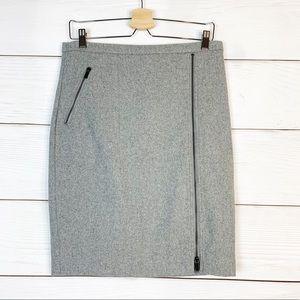 J.Crew Asymmetrical zip pencil Wool Skirt Size 12